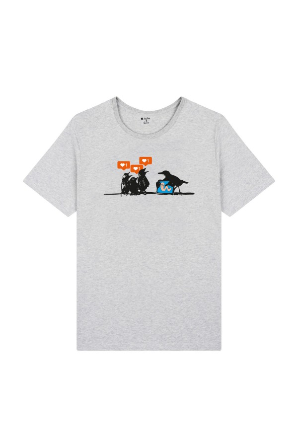 T-SHIRT BIRDS GREY