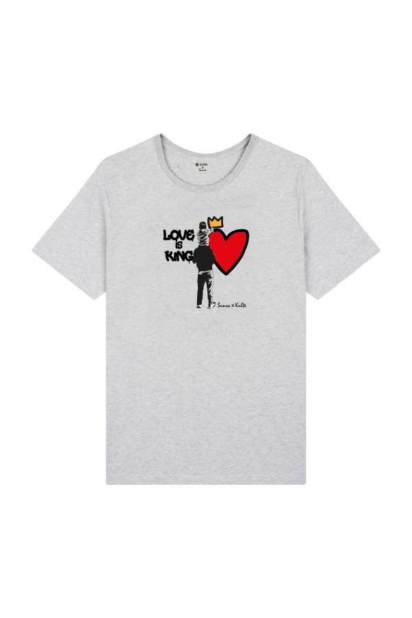 T-SHIRT LOVE IS KING GREY