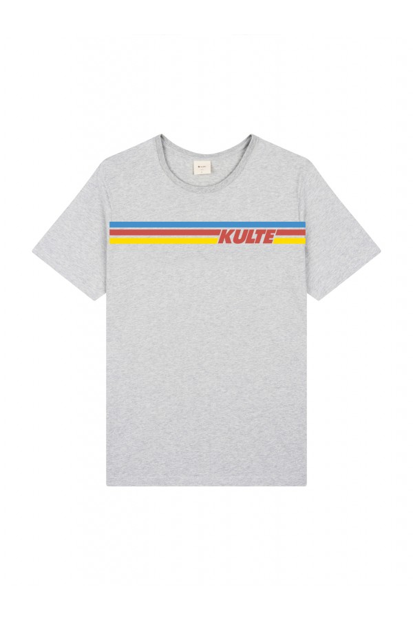 T-SHIRT RAINBOW 80'S GREY